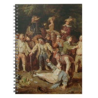 Peasants Brawling Outside a Tavern (oil on panel) Spiral Notebooks