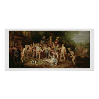 Peasants Brawling Outside a Tavern (oil on panel) Poster