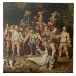 Peasants Brawling Outside a Tavern (oil on panel) Tile