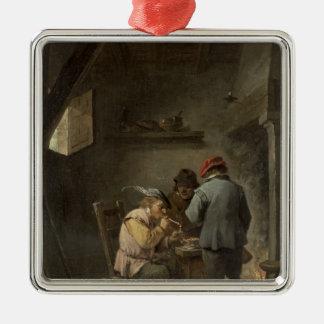 Peasants by an Inn Fire Metal Ornament