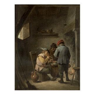 Peasants by an Inn Fire Postcard