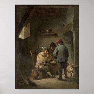 Peasants by an Inn Fire Poster