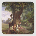 Peasants having a Siesta, 1841 Square Sticker