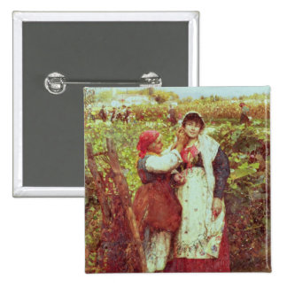 Peasants in a vineyard 2 inch square button