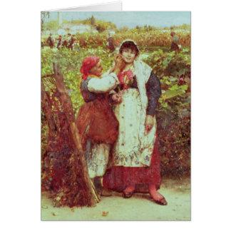 Peasants in a vineyard greeting card