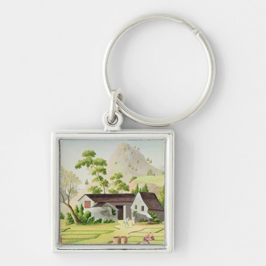 Peasants in the Paddy Fields Keychain