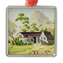 Peasants in the Paddy Fields Metal Ornament