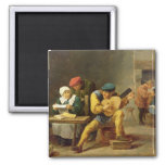 Peasants Making Music in an Inn, c.1635 2 Inch Square Magnet