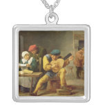 Peasants Making Music in an Inn, c.1635 Square Pendant Necklace