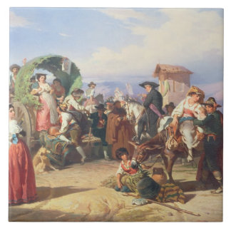 Peasants of the Campagna, 1860 (oil on canvas) Tile