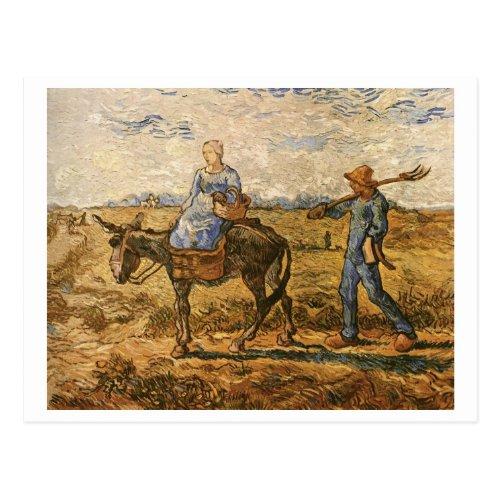 Peasants On Way To Work Van Gogh Fine Art Postcard