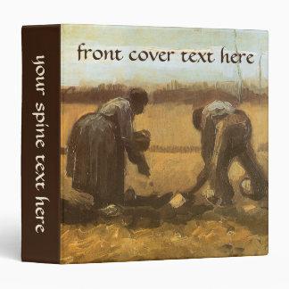 Peasants Planting Potatoes by Vincent van Gogh 3 Ring Binder