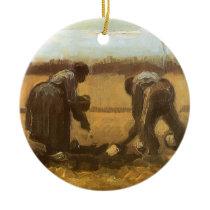 Peasants Planting Potatoes by Vincent van Gogh Ceramic Ornament