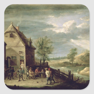Peasants Playing Boules Square Sticker