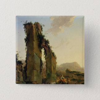 Peasants with Cattle by a Ruined Aqueduct Button