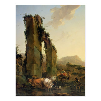 Peasants with Cattle by a Ruined Aqueduct Postcard
