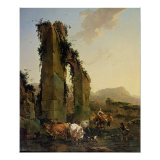 Peasants with Cattle by a Ruined Aqueduct Poster