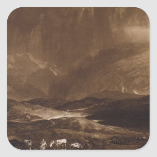 Peat Bog, Scotland, engraved by George Clint (1770 Square Sticker
