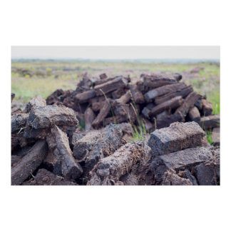 peat stacked up for the bog winds to dry poster