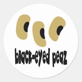 Peaz Negro-Observado Pegatina Redonda