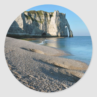 Pebble beach and cliff of Etretat in France Stickers