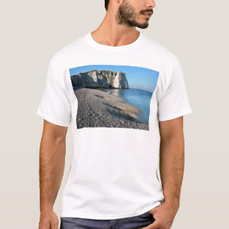 Pebble beach and cliff of Etretat in France T-Shirt