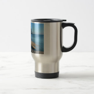 Pebble beach and cliff of Etretat in France Travel Mug