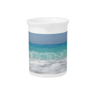 Pebble Beach and Sea Waves Drink Pitcher