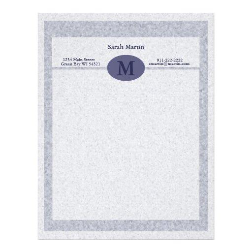 """""""Pebble Blue Monogrammed"""" Letterhead"""