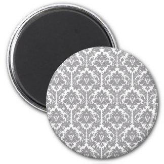 Pebble Grey Damask Pattern Magnet