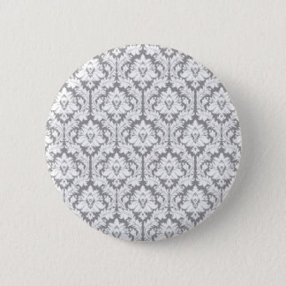Pebble Grey Damask Pattern Pinback Button