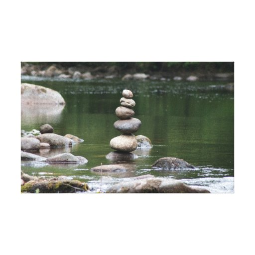 Pebble Stack in the River Dart Gallery Wrap Canvas