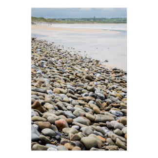 pebbled beach beside the links golf course poster
