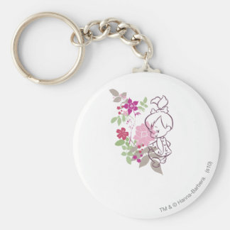 PEBBLES™ A Cutie In The Flowers Basic Round Button Keychain