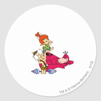 PEBBLES™ and Bam Bam  and Dino Playtime Classic Round Sticker