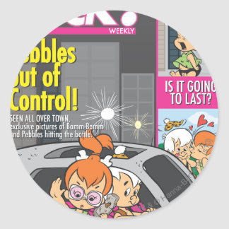 PEBBLES™ and Bam Bam Out of Control Classic Round Sticker