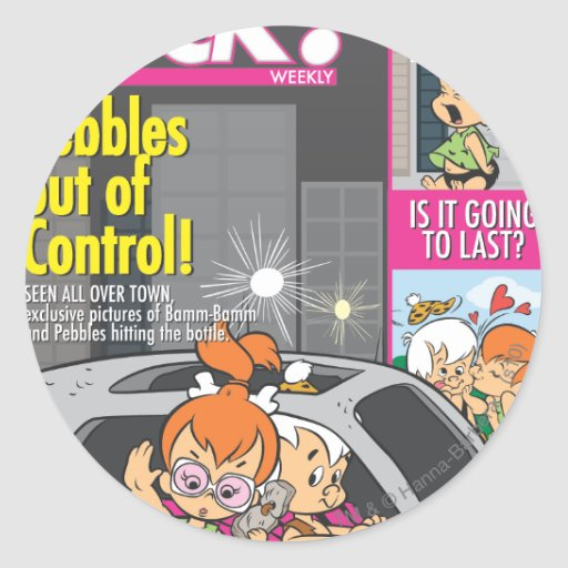 PEBBLES™ and Bam Bam Out of Control Round Sticker