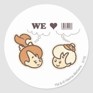 Pebbles and Bam Bam We Love Round Stickers