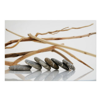 Pebbles and driftwood poster