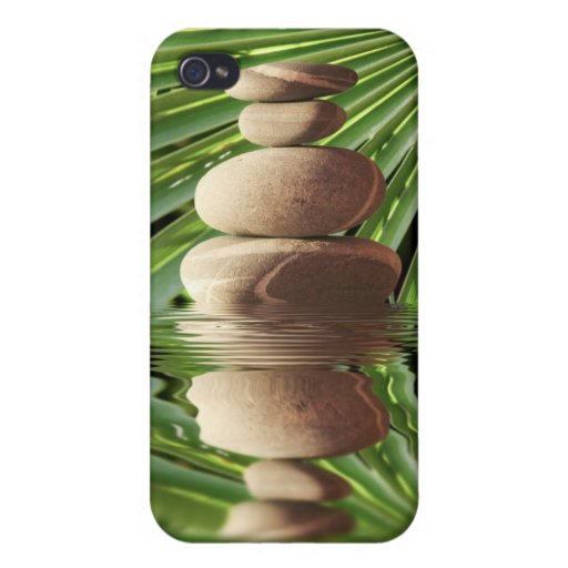 Pebbles and palm-tree leaf iPhone 4/4S cases