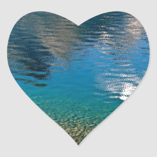 PEBBLES AND WATER REFLECTIONS HEART STICKER