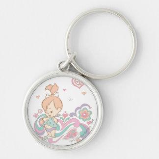 PEBBLES™ Love Swirls Silver-Colored Round Keychain