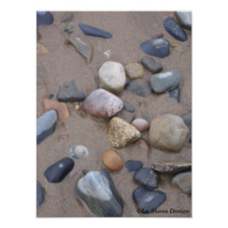 Pebbles on the Beach Close-up Poster