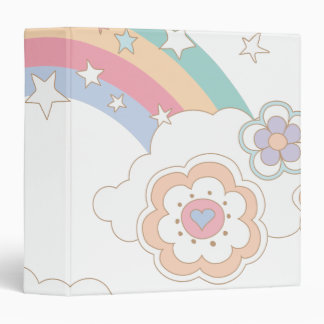 Pebbles Rainbow and Flower Clouds Binder