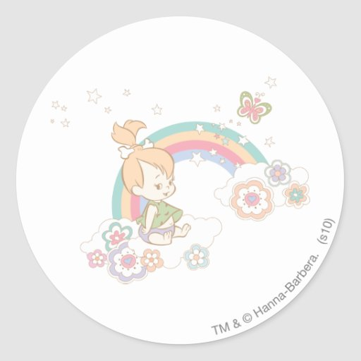 PEBBLES™ Rainbow and Flower Clouds Classic Round Sticker