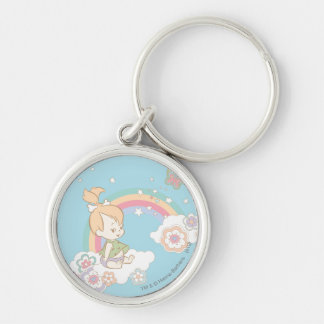 PEBBLES™ Rainbow and Flower Clouds Keychain