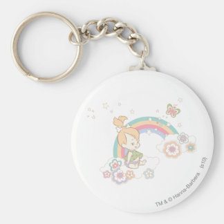 PEBBLES™ Rainbow and Flower Clouds Key Chain