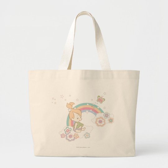 PEBBLES™ Rainbow and Flower Clouds Large Tote Bag