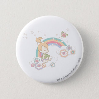 PEBBLES™ Rainbow and Flower Clouds Pinback Button