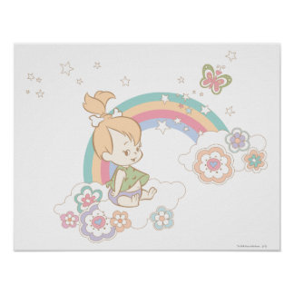 PEBBLES™ Rainbow and Flower Clouds Poster